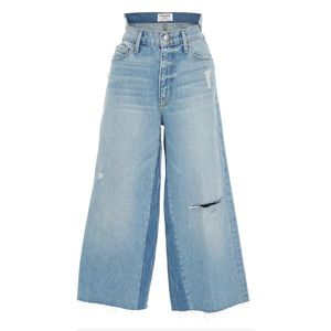 Frame Deconstructed Wide Leg Distressed Jeans